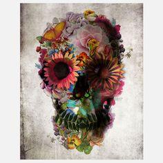 Floral Skull Print