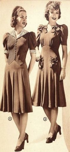 Retro Fashion Two wonderfully pretty daywear dresses from the Sears catalog, 1940s Outfits, 1940s Dresses, Vintage Dresses, Vintage Outfits, Vintage Clothing, 40s Clothing, 1940s Clothes, Ladies Dresses, Woman Clothing
