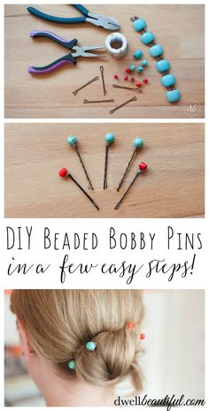 It is wedding and party season and I always like dressing up my hair for special occasions with cute decorative bobby pins. In a few easy steps you can make your own DIY Beaded Bobby Pins and be on your way to a beautiful new hairstyle! OHMY-CREATIVE.COM