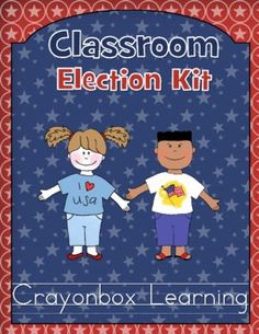 Classroom Election Kit - Presidential Elections by Crayonbox Learning!   Featuring Teachers Guide, Word Wall Cards with and without definitions, materials for classroom election including voter cards, ballots, and much more! (Note: this packet is updated annually at no additional cost)   $8.50