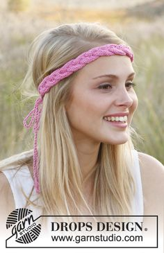"Free  Knitted DROPS hair band with cable in ""Cotton Light""."