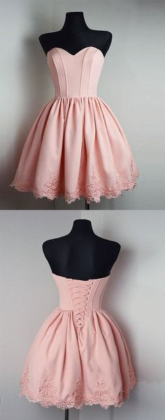 pink sweetheart homecoming dresses, cute semi formal dresses, chic a-line short prom dresses.