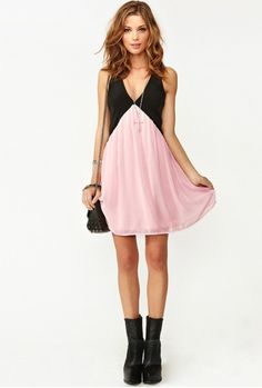 Pink + Black = LOVE! So CUTE! Back Hollow-out V-neck Sleeveless Chiffon Color Block Dress #Pink_and_Black #Cute #Summer #Fashion