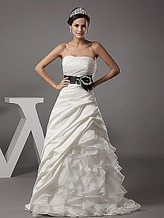 Strapless A Line Satin Wedding Gown with Organza Ruffle Skirt - USD $189.00