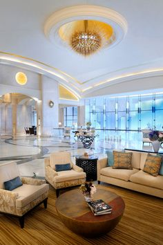 Lobby at The St. Regis Saadiyat Island Resort, Abu Dhabi, designed by HBA/Hirsch Bedner Associates.
