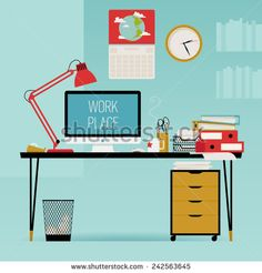 Vector modern creative flat design office work desk with stationery, table lamp, personal computer, piles of papers, wall clock and more - stock vector