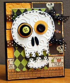Halloween Skull **Embellish-Online** - Two Peas in a Bucket  Inspiration for a cute tag.