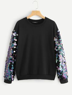 Shein Contrast Sequin Pullover Black Glamorous Long Sleeve Pullovers Fabric has some stretch Spring/Fall Sweatshirts, size features are:Bust: ,Length: Regular ,Sleeve Length:Long Sleeve Girl Fashion, Fashion Outfits, Womens Fashion, Fashion Fall, Crochet Dress Outfits, Pullover Mode, Mode Hijab, Casual T Shirts, Sweater Fashion