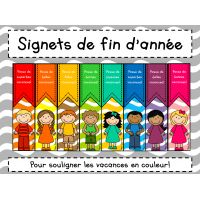 Signets de fin d'année - Gratuit! French Teaching Resources, Teaching French, School Resources, Teacher Tools, Teacher Hacks, Best Teacher, End Of The Year Celebration, French Worksheets, End Of Year Activities