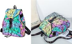 Geometric Luminous Women Backpack  #geometric #luminous #woman #women #backpack #bag #sack #fashion #outfit #statement #glowing #glow #light #dark #statement #statementlook #look #beautiful #rainbow #metallic Laptop Bags, Laptop Backpack, Color Change, Drawstring Backpack, Glow, Metallic, Rainbow, Backpacks, Woman