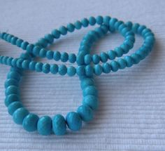 Turquoise Microfaceted Rondelles AAA 3-4mm