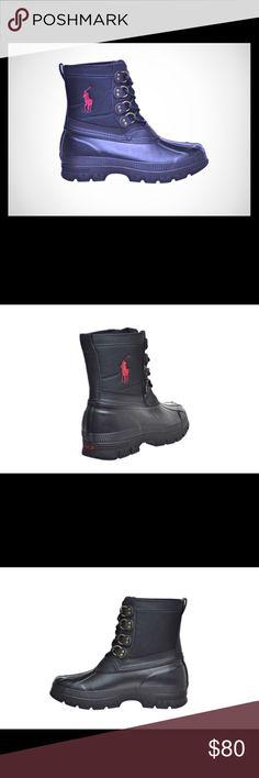 🆕POLO Ralph Lauren, Crestwick Men's Rubber Boots NWOT, Polo Ralph Lauren Crestwick Men's Nylon Rubber Boots Black/Red Polo by Ralph Lauren Shoes Boots
