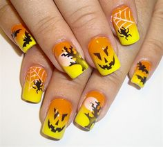 40 Cute and Spooky Halloween Nail Art Designs Bright Halloween And Fall Nail Art. Source by aprillogea Holiday Nail Designs, Holiday Nail Art, Fall Nail Art, Cool Nail Designs, Autumn Nails, Christmas Holiday, Nail Art Halloween, Halloween Nail Designs, Funny Halloween
