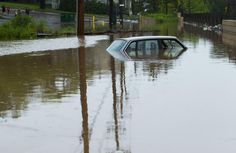 Submerged car after 2012 Flood