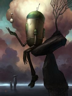 No Man Picture surrealism, robot) Brian Despain. Diesel Punk, Art Pop, Steampunk, Fantasy Kunst, Fantasy Art, Cyberpunk, Drawing, Arte Robot, Digital Art Gallery