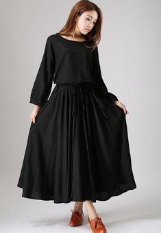 Black dress woman maxi linen dress long sleeve dress custom made casual dress (835)