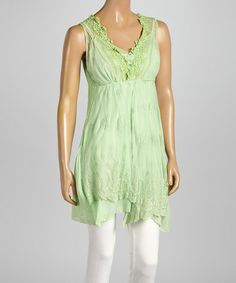 Love this Green & Cream Embellished Chiffon Sleeveless Top on #zulily! #zulilyfinds