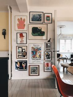 Gallery wall | lovely mixture of different prints and colours