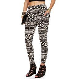 White/Black Tribal Print Harem Pants