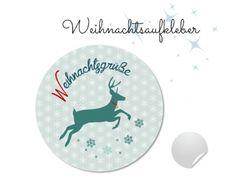 """www.papierbuedchen.de - 24 Aufkleber """" Rentier """" (W49) - Weihnachten"""