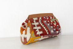 Kilim Bag  Clutch Bag  Apparel Brown Leather by TheOrientBazaar