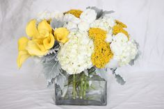 yellow and gray wedding flower arrangements - Google Search