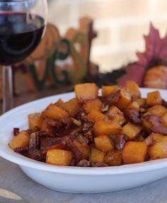 Maple Bacon Pecan Roasted Butternut Squash recipe from @Juli Leonard Bauer (Thanksgiving Squash Recipes)