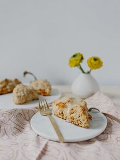 Carrot, Orange + White Chocolate Chip Scones with Cream Cheese Glaze - The Effortless Chic