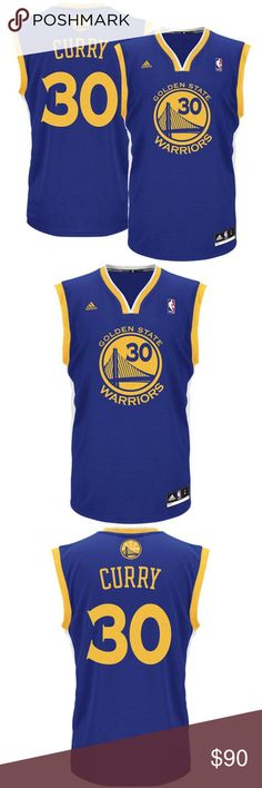Golden State Warriors - Stephen CURRY Men's Jersey This adidas jersey features Golden State Warriors graphics on the front and your favorite player's name and number on the back.  100% Polyester Back neck taping – no irritating stitch on the back neck Dazzle and mesh jersey Embroidered NBA & adidas logos Jock tag Rib-knit collar and arm holes Screen print name, numbers and logos Officially licensed NBA Merchandise  New with Tags adidas Shirts