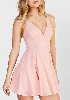 Pink Spaghetti Strap Cross Back Dress - Sheinside.com