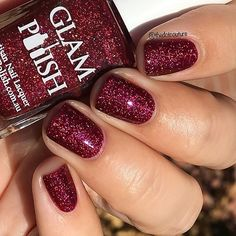 Check out this stunner from @glampolish_ - this is Ms Eva Ernst (as in from the movie Witches)!!! A gorgeous vampy red just loaded with holo goodness. The Coven collection (polishes cleverly inspired by famous witches) is available at www.glampolish.com.au/products