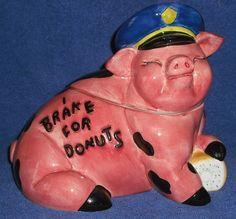 Enesco Cookie Jar I brake for Donuts Policeman cop pig hog