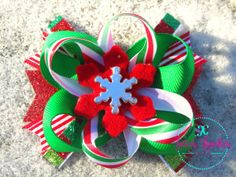Hair Bow Girls Baby Christmas Traditional by LottiesLoveliesBows, $5.99