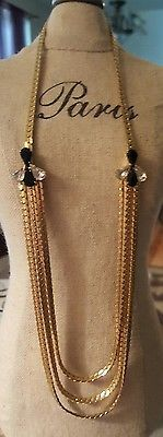Vintage Necklace 3 Lower Gold Tone Chains Black White Side Accents
