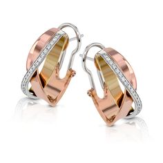 These distinctive earrings are wrought in three tones of 18k gold: white, rose, and yellow. Accenting these metals is a line of .24 ctw of white diamonds.