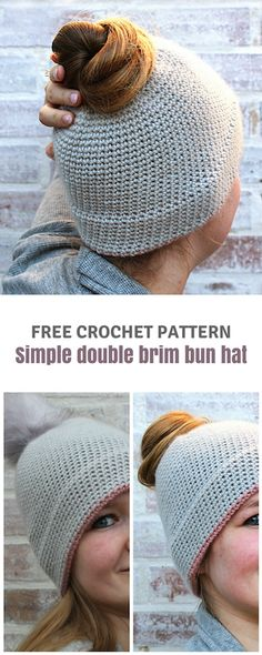 FREE #crochet pattern to make this simple double brim #bun #hat on wilmade.com (including a video tutorial)