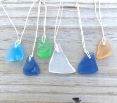 Sea Glass  Beach  Necklace Frosted Aqua Tropical by WaveofLife