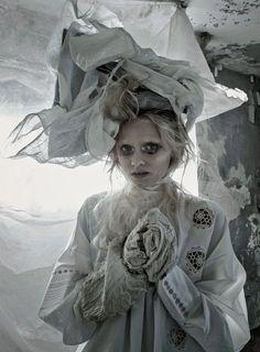 """Grey Gardens"": Abbey Lee Kershaw as Dickens' Miss Havisham"