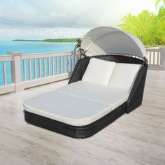vidaXL Sun Lounger with Canopy Poly Rattan Black[1/7]