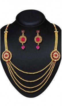Pink,Gold Color American Diamond,Stone Work Fashion Necklaces Set | FH500776610 Follow us @heenastyle  #Necklace #onlineshopping #necklaceset #forsale #gold #artificial #goldplated #designs #fashion #jewelry #fashionjewellry #accessories #womenfashion #pendentset #earing #jumkis #bangle #bracelets #mangalsutra #tikka #headpieces #handbags #cluethesbeg #ring #indianfashion #fashionista #anklets #bridelset #weddingset #dimondset #brass #metal #heenastylenecless #heenastyle