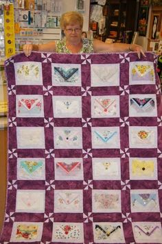 Hanky quilt - fold them into envelopes and sew a button on for closing.