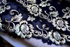 Black and gold lace,  Bridal lace trim, Wedding lace trim, Fancy lace trim, Lace trim, Luxury lace trim, Gold lace trim, Lace fabric, Lace by SixthCraft on Etsy