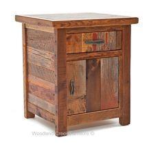 Barn Wood End Table in Vintage Colors