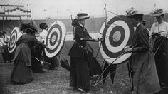 Female archers compete in the national round event at the 1908 London Olympics.
