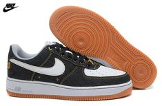 more photos a7898 66279 Buy Mens Nike Air Force One Low 07 Denim Low Shoes Black White-Gum  Brown-Wolf Grey from Reliable Mens Nike Air Force One Low 07 Denim Low Shoes  Black ...