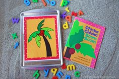 Free printable for Chicka Chicka Boom Boom activity.  Attach to a cookie sheet, and use magnet letters to recreate the book.