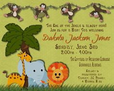 JUNGLE Baby Shower Invitation for GIRL or by WilsonPhotoAndDesign, $15.00