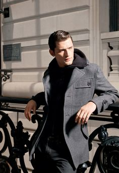 Sean O'Pry. Overcoats. Greys and black. Gentlemen Style, Men's Fashion