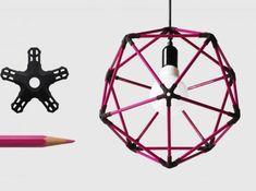 30 pencil icosahedron 3d printed icosahedron lampshade from colour pencils!