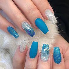 Super Cute Nail Art Ideas for Long Nails In 2019 – Long Nails – Long Nail Art Designs Blue Acrylic Nails, Blue Nails, Acrylic Nail Designs, Nail Art Designs, My Nails, Gradient Nails, Holographic Nails, Matte Nails, Nails Design
